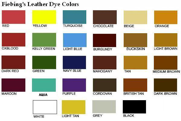 Leather Dye Colour Chart For Feibings